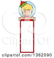 Clipart Of A Boy Christmas Elf Bookmark Design Royalty Free Vector Illustration