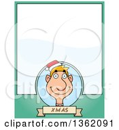 Clipart Of A Male Christmas Elf And Green Page With Text Space Royalty Free Vector Illustration