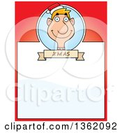 Clipart Of A Male Christmas Elf And Red Page With Text Space Royalty Free Vector Illustration