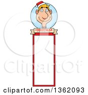 Clipart Of A Male Christmas Elf Bookmark Design Royalty Free Vector Illustration