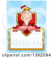 Clipart Of A Male Christmas Elf Shield With A Christmas Season Banner And Blank Sign Over Blue Rays Royalty Free Vector Illustration