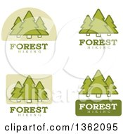 Clipart Of Green Forest Hiking Icons Royalty Free Vector Illustration