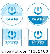 Clipart Of Blue And White Power Button Icons Royalty Free Vector Illustration by Cory Thoman