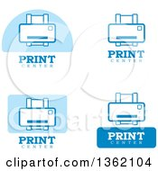 Clipart Of Blue And White Print Icons Royalty Free Vector Illustration by Cory Thoman