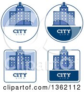 Clipart Of Blue And White City Life Icons Royalty Free Vector Illustration by Cory Thoman