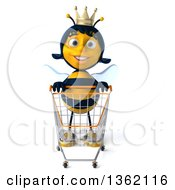 Clipart Of A 3d Queen Bee With A Shopping Cart On A White Background Royalty Free Illustration by Julos