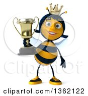 Clipart Of A 3d Queen Bee Holding A Trophy On A White Background Royalty Free Illustration