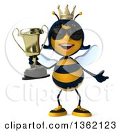 Clipart Of A 3d Queen Bee Wearing Sunglasses And Holding A Trophy On A White Background Royalty Free Illustration