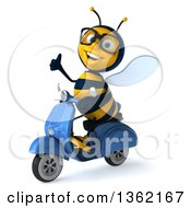 Clipart Of A 3d Bespectacled Male Bee Giving A Thumb Up And Riding A Blue Scooter On A White Background Royalty Free Illustration