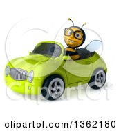 Clipart Of A 3d Bespectacled Male Bee Driving A Green Convertible Car On A White Background Royalty Free Illustration