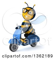 Clipart Of A 3d Bespectacled Male Bee On A Blue Scooter On A White Background Royalty Free Illustration