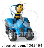 Clipart Of A 3d Male Bee Operating A Blue Tractor On A White Background Royalty Free Illustration