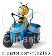 Clipart Of A 3d Male Bee Giving A Thumb Down And Operating A Blue Tractor On A White Background Royalty Free Illustration
