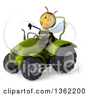 Clipart Of A 3d Male Bee Giving A Thumb Down And Operating A Green Tractor On A White Background Royalty Free Illustration
