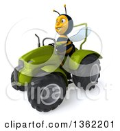 Clipart Of A 3d Male Bee Operating A Green Tractor On A White Background Royalty Free Illustration