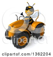 Clipart Of A 3d Male Bee Wearing Sunglasses Giving A Thumb Up And Operating A Yellow Tractor On A White Background Royalty Free Illustration