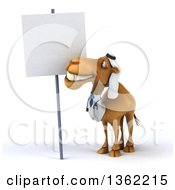 Clipart Of A 3d Arabian Doctor Camel By A Blank Sign On A White Background Royalty Free Illustration