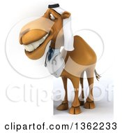 Clipart Of A 3d Arabian Doctor Camel Looking Around A Sign On A White Background Royalty Free Illustration