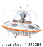 Clipart Of A 3d Alien Flying A Ufo On A White Background Royalty Free Illustration