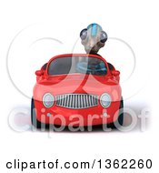 Clipart Of A 3d Alien Driving A Red Convertible Car On A White Background Royalty Free Illustration