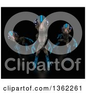 Clipart Of 3d Aliens Crouching And Standing On A Black Background Royalty Free Illustration