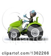 Clipart Of A 3d Alien Giving A Thumb Up And Operating A Green Tractor On A White Background Royalty Free Illustration