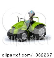 Clipart Of A 3d Alien Operating A Green Tractor On A White Background Royalty Free Illustration