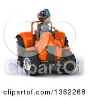 Clipart Of A 3d Alien Operating An Orange Tractor On A White Background Royalty Free Illustration