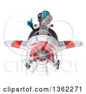 Clipart Of A 3d Alien Aviator Pilot Giving A Thumb Up And Flying A White And Red Airplane On A White Background Royalty Free Illustration