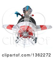 Clipart Of A 3d Alien Aviator Pilot Giving A Thumb Down And Flying A White And Red Airplane On A White Background Royalty Free Illustration