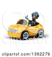 Clipart Of A 3d Alien Giving A Thumb Up And Driving A Yellow Convertible Car On A White Background Royalty Free Illustration