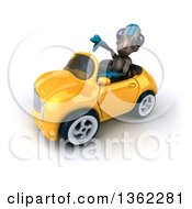 Clipart Of A 3d Alien Giving A Thumb Down And Driving A Yellow Convertible Car On A White Background Royalty Free Illustration