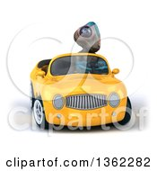 Clipart Of A 3d Alien Driving A Yellow Convertible Car On A White Background Royalty Free Illustration