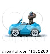 Clipart Of A 3d Alien Driving A Blue Convertible Car On A White Background Royalty Free Illustration