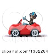 Clipart Of A 3d Alien Giving A Thumb Up And Driving A Red Convertible Car On A White Background Royalty Free Illustration