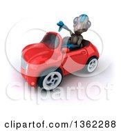 Clipart Of A 3d Alien Giving A Thumb Down And Driving A Red Convertible Car On A White Background Royalty Free Illustration