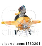 Clipart Of A 3d Alien Aviator Pilot Flying A Yellow Airplane On A White Background Royalty Free Illustration