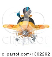 Clipart Of A 3d Alien Aviator Pilot Giving A Thumb Up And Flying A Yellow Airplane On A White Background Royalty Free Illustration