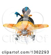 Clipart Of A 3d Alien Aviator Pilot Giving A Thumb Down And Flying A Yellow Airplane On A White Background Royalty Free Illustration