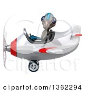 Clipart Of A 3d Alien Aviator Pilot Flying A White And Red Airplane On A White Background Royalty Free Illustration