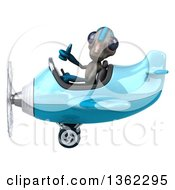Clipart Of A 3d Alien Aviator Pilot Giving A Thumb Up And Flying A Blue Airplane On A White Background Royalty Free Illustration by Julos