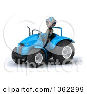 Clipart Of A 3d Alien Operating A Blue Tractor On A White Background Royalty Free Illustration by Julos
