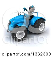 Clipart Of A 3d Alien Giving A Thumb Down And Operating A Blue Tractor On A White Background Royalty Free Illustration by Julos