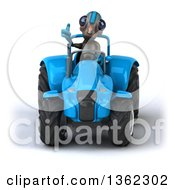 Clipart Of A 3d Alien Giving A Thumb Up And Operating A Blue Tractor On A White Background Royalty Free Illustration by Julos