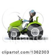 Clipart Of A 3d Alien Operating Green Tractor On A White Background Royalty Free Illustration by Julos