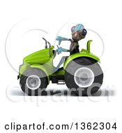 Clipart Of A 3d Alien Giving A Thumb Down And Operating A Green Tractor On A White Background Royalty Free Illustration by Julos