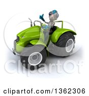 Clipart Of A 3d Alien Giving A Thumb Up And Operating A Green Tractor On A White Background Royalty Free Illustration by Julos