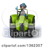 Clipart Of A 3d Alien Giving A Thumb Up And Operating Green Tractor On A White Background Royalty Free Illustration by Julos