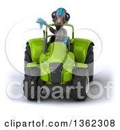 Clipart Of A 3d Alien Giving A Thumb Down And Operating Green Tractor On A White Background Royalty Free Illustration by Julos