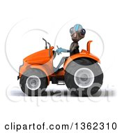 Clipart Of A 3d Alien Operating An Orange Tractor On A White Background Royalty Free Illustration by Julos